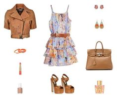 """""""Contest: Light Blue, Orange & Brown Leather Outfit"""" by billsacred ❤ liked on Polyvore featuring Brian Atwood, GUESS by Marciano, Belstaff, Dee Berkley, Erica Lyons, Hermès, Acqua di Parma, Estée Lauder and Essie"""