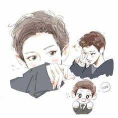 Chibi, Sketches, Exo Art, Exo Fan Art, Cute Art, Art, Art Sketches, Fan Art, Cool Drawings