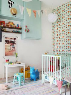 mint coloured kids room..
