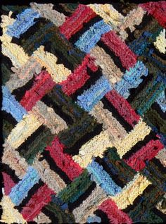 Yellow C Shapes hand knit rag rug. Sold. (Same pattern as Red and Green C shapes, different color management.)