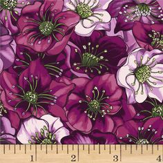 Lenten Rose Dark Eggplant from @fabricdotcom  Designed by Cedar West for Clothworks, this cotton print fabric is perfect for apparel, quilting, and home decor accents. Colors include shades of pink, green, black, and white.