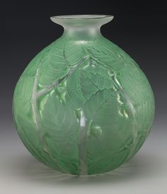 R. Lalique Clear Glass Milan Vase with Green Patina. Circa 1927.   Lot #60238   Heritage Auctions