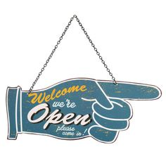 Metalen open-closed THIS WAY bord B 31 cm