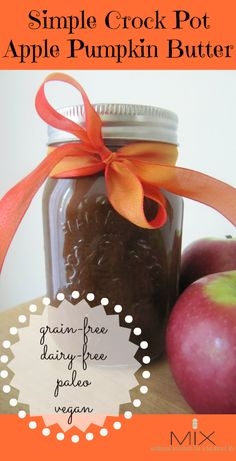 Simple Crock Pot Apple Pumpkin Butter {Grain-Free Dairy-Free Paleo Vegan} www.mixwellness.com