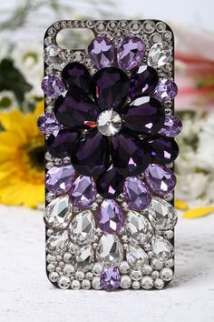 peacock iPhone 4 Cases Purple gems crystal by cutecraftcover, $26.99