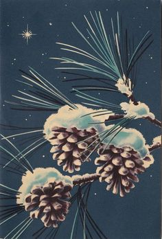 Vintage Greeting Card Christmas Pine Cones