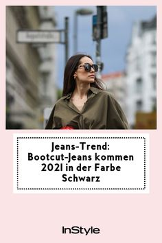 Bootcut-Jeans kommen im Frühjahr 2021 in der Farbe Schwarz! Wir stellen die coolsten Looks rundum den neuen Jeans-Trend vor. #instyle #instylegermany #jeans #denim #bootcut #schwarz #trend