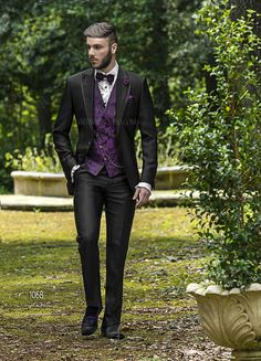 ONGala 1068 - Groom Suits in Black Striped Ottoman Acetate and Wool Blend