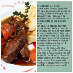 Receta de Plateada Al Jugo Chilean Recipes, Chilean Food, What To Cook, Dinner Recipes, Yummy Food, Beef, Meals, Cooking, Instagram
