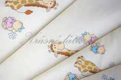 Žirafky na okrovém podkladu - 100% bavlněná látka na dětské výrobky