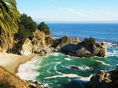 McWay Falls in Big Sur, CA.  I think this is the only waterfall in the US to spill into an ocean.