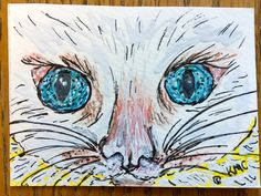 "Original Watercolor ACEO Art Trading Card ""Blue Eyes Eyes White Cat"""