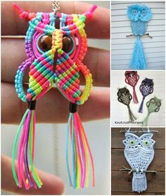 How to DIY Adorable Macrame Owls Patterns and Tutorials (Video) #Crafts, #Jewelry, #HomeDecor