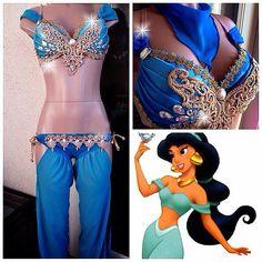 Jasmine Aladdin Rave Top & Bottom, Rave Costume Outfit For EDC, Ultra Music, EDM Festivals, PLUR
