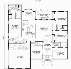 First Floor Plan of The Zimmerman House Plan Number 987