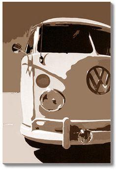 AWESOME, VW ART, Volkswagen Campervan Paintings, camper vans, camper artwork, classic vw painting, Surf Paintings, VW paintings, Benjamin Hughes, Campervan Art, split screen camper on Canvas.
