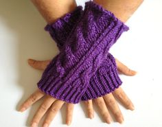 Fingerless Gloves Wrist Warmers in Purple Sparkle by MadebyMegShop, $25.00