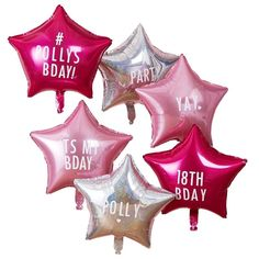 Personalisable Star Party Balloons With Stickers - Iridescent Foil Balloons - Pink Party Decorations - Star Balloons Name Balloons, Pink Balloons, Foil Balloons, Star Wars Party, Star Party, Pink Happy Birthday, Happy Birthday Balloons, Pink Party Decorations, Personalized Balloons
