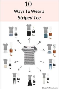 10 Ways To Wear A Striped Tee | Find more fashion ideas, quotes, and tips at #lorisgolfshoppe