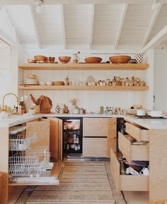 open plan timber kitchen and dining area design comfy for you family 38 Timber Kitchen, Farmhouse Kitchen Cabinets, Kitchen Cabinet Design, Kitchen Interior, Kitchen Shelves, Kitchen Storage, Kitchen On A Budget, New Kitchen, Kitchen Dining