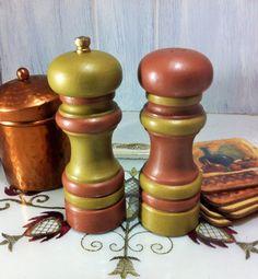 Gold Copper Salt and Pepper Mill Set, Painted Wood Salt Shaker Pepper Grinder, Copper Farmhouse Salt & Pepper Set, Industrial Kitchen Decor $28.00 by Reimaginations on Etsy