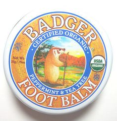 Badger Certified Organic Foot Balm for Dry Cracked Feet w/ Peppermint 2 Sizes