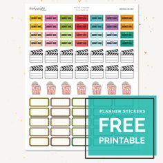 """Free Printable Planner Stickers: """"Movie Night"""""""