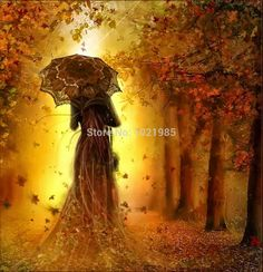 autumn Stroll in the fall diy diamond painting 3d cross stitch kits full resin masic inlaid beauty with umbrella romantic flower