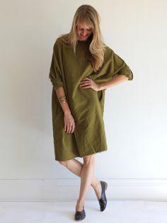 MILLE | Black Crane Painter Dress - Olive