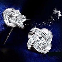 Stud Earrings for Women 925 Sterling Silver Fine Jewelry Korean Style Clear Cubic Zirconia Twist of. Click visit to buy #FineJewelryEarring #Jewelry #Earring