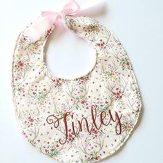Floral Antlers Woodland reversible baby girl minky cotton bib - Handmade by Jes Hoyda at Dot Dot Baby in Tulsa, Oklahoma. Pink floral embroidered personalized newborn girl baby shower gift etsy