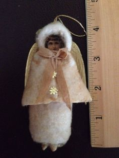 Vtg Cotton Batting Christmas Ornament Female Angel w Diecut Face - Figure only