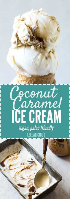 A perfect vegan summer dessert! This homemade Coconut Salted Caramel Ice Cream r… A perfect vegan summer dessert! This homemade Coconut Salted Caramel Ice Cream recipe is entirely dairy-free and even paleo friendly. Paleo Ice Cream, Dairy Free Ice Cream, Coconut Ice Cream, Ice Cream Recipes, Coconut Milk Flan Recipe, Vegan Icecream Recipe, Icecream Cake Recipes, Ice Cream Machine Recipes, Homemade Ice Cream Machine