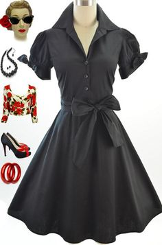 50s Style Black Tie Sleeve Full Skirt Rockabilly Pinup Day Dress w Sash Belt
