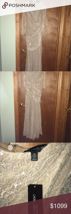 Carmen Marc Valvo Runway Gown Lace embroidered gown with sequins. Color: Nude. Size: 10. Brand New With Tags!! Carmen Marc Valvo Dresses Maxi