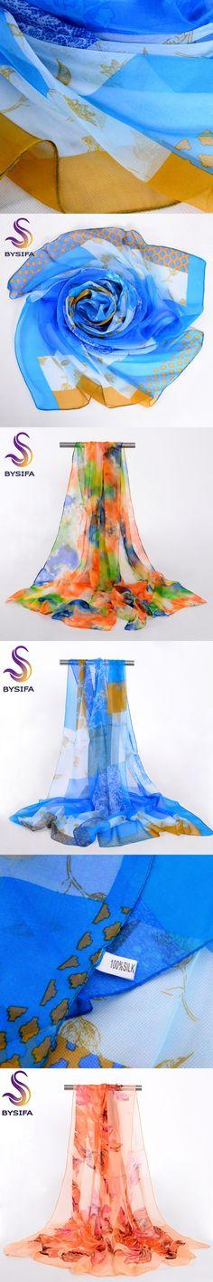 [BYSIFA] Female Silk Chiffon Long Scarves Wraps Fashion New Design Brand Pattern Summer Ladies Beach Shawl Long Scarves Echarpes