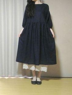 完成です! ペチパンツにも合いますよ~★ Modest Fashion, Diy Fashion, Womens Fashion, Pattern Design, Free Pattern, Handmade Clothes, Dressmaking, I Dress, Dress Patterns
