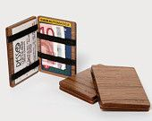 Items similar to Wood Wallet - Walnut. Credit card and cash wallet. Magic wooden wallet on Etsy Small Projects Ideas, Wood Projects, Woodworking Projects, Diy Wallet, Cash Wallet, Leather Gifts, Leather Craft, Wood Crafts, Diy And Crafts