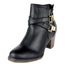 Womens Strappy Buckle Western Stacked High Heel Ankle Boots * Check this awesome image  : Western boots