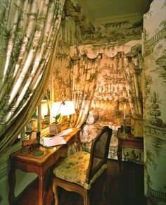Romantic, green toile day bed and vanity all draped and...by Charlotte Moss