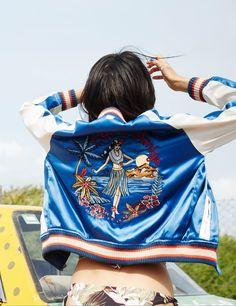 Aloha Amiga satin baseball jacket