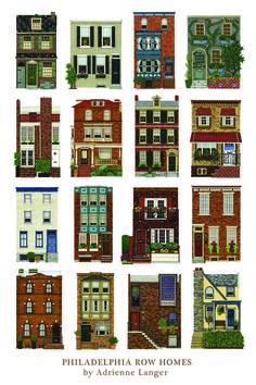 Philadelphia Row Houses | Philadelphia Row Homes Poster