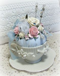 Petite Tea Cup Pincushion-pincushion,roses,handmade,cottage,shabby,chic,blue,pink,china,cream,pearls,ribbon,decoration,homedecor,pins,silks