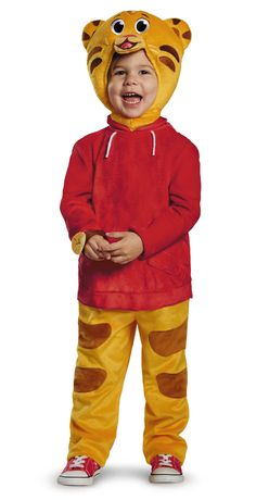 Deluxe Daniel Tiger Jumpsuit with attached watch, detachable belly and soft character headpiece