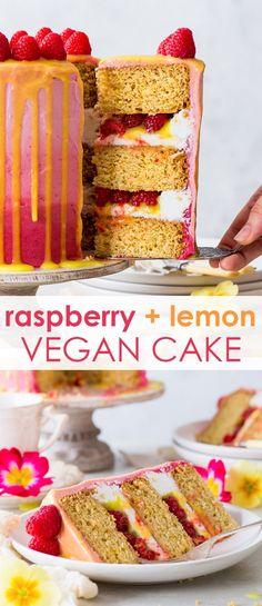 This beautiful and delicious vegan raspberry & lemon cake features fluffy vegan sponges, luscious vegan frosting and a vegan lemon curd drip. Vegan Dessert Recipes, Köstliche Desserts, Vegan Sweets, Delicious Desserts, Cake Recipes, Vegan Buttercream, Vegan Frosting, Vegan Lemon Curd, Raspberry Lemon Cakes