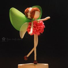 Pink Petal Green Fairy Doll Miniature, No face doll, Colorful Flower Doll, Angel Ornament,