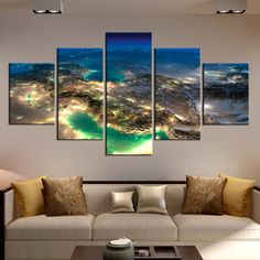 Modular Decorative Wall Art Framework Pictures 5 Panel Beautiful Planet Earth Poster Surface From Universe Canvas Print Artwork