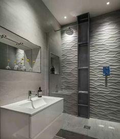 Banheiro cinza com branco...
