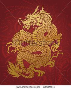 Coiled Dragon gold on RED - stock vector