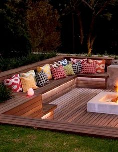 Backyard Patio Designs, Backyard Projects, Outdoor Spaces, Outdoor Living, Outdoor Decor, Deck Seating, Ranch Style Homes, Outdoor Settings, Outdoor Landscaping